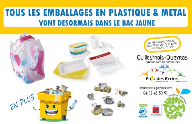 Tous les emballages plastiques et métalliques se trient